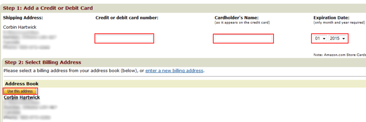 Amazon payment information form