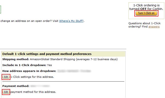 Amazon One-Click settings