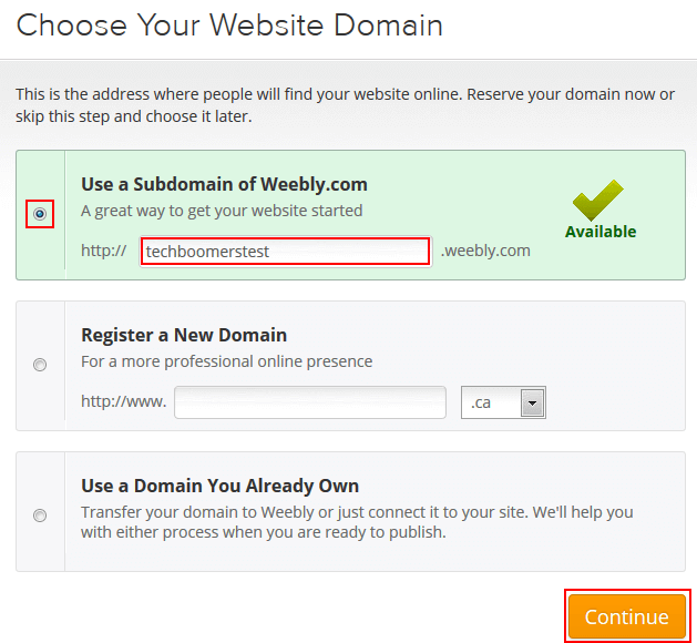 Weebly domain name form
