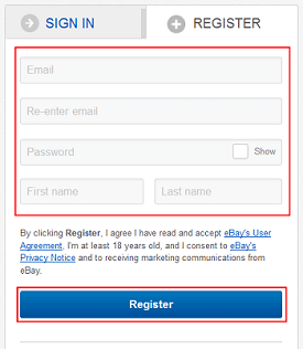 eBay sign up form