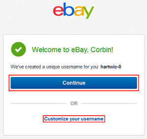 Customize eBay username