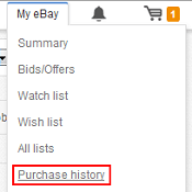 eBay Purchase History menu