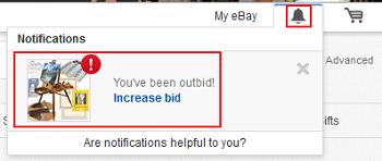 eBay bidding notifications