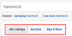 Sort between items you can buy now and those you can win in auction