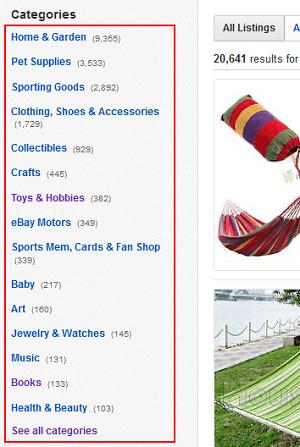 Narrow eBay search results