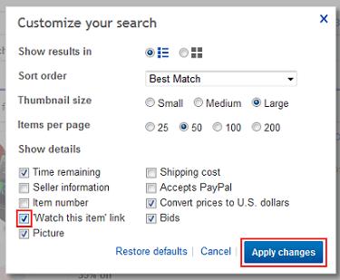 Watch items on eBay