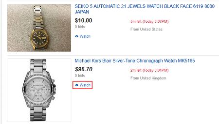 Click Watch to add to eBay Watch List