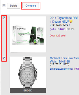 Compare items on Watch List