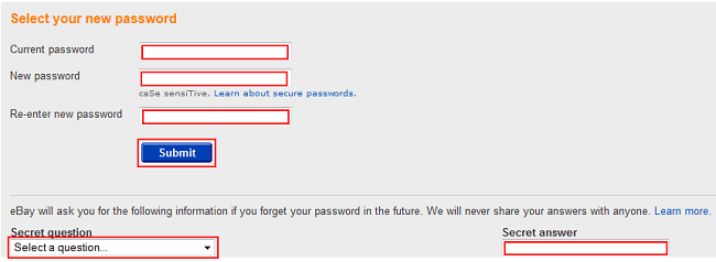 Change eBay password