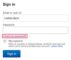 Click to indicate you have forgotten your password