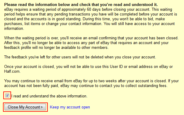 Confirm you want to close your account