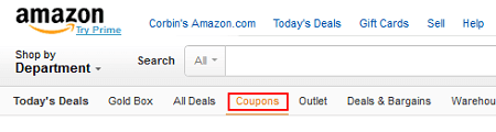 Amazon Coupons menu