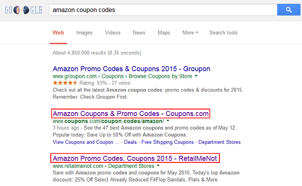 Search for Amazon coupon codes in your web browser