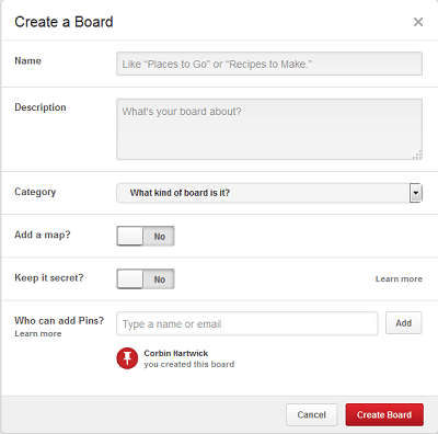 Pinterest board creation form