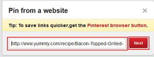 Add web address to add a Pinterest pin