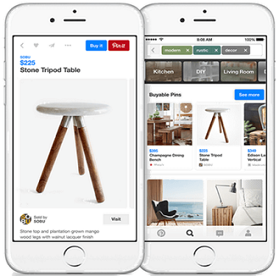 Pinterest Shop on mobile devices