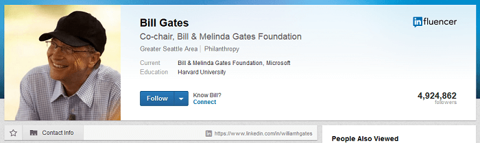 LinkedIn profile of Bill Gates