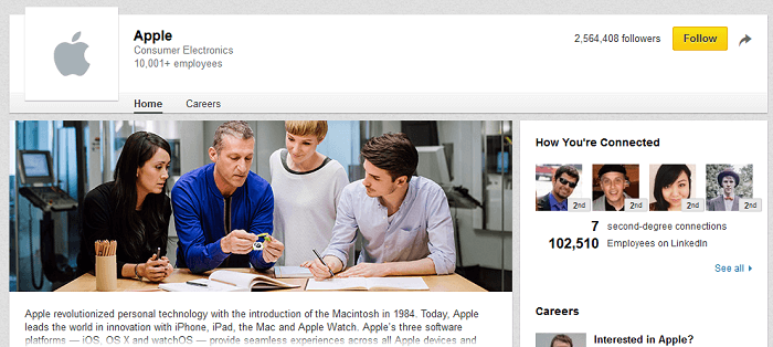 LinkedIn company page for Apple
