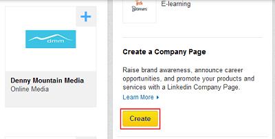 LinkedIn Company Pages menu