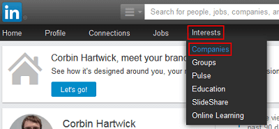 LinkedIn Companies menu