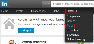 LinkedIn Pulse menu