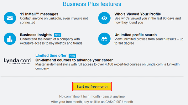 Start LinkedIn trial button