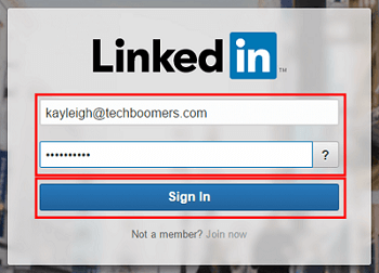 LinkedIn sign in screen