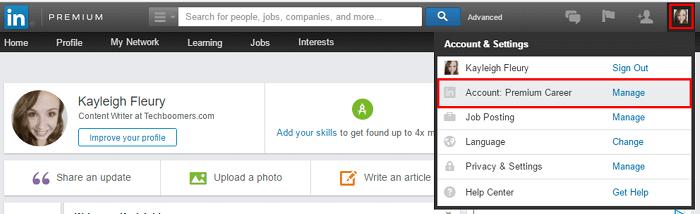 LinkedIn menu