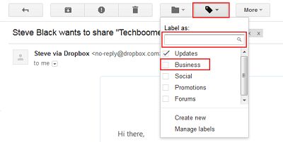 Gmail labels to organize Inbox