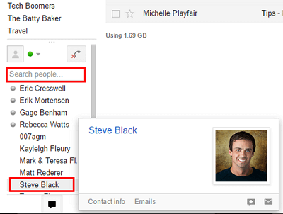 View of Quick Contacts in Gmail