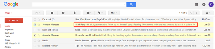 Gmail subject and preview of email