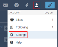 Tumblr Settings menu
