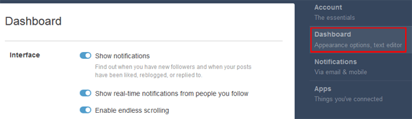 Tumblr main page settings