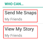Snapchat Privacy Settings menu