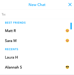 Choose friend for Snapchat chat