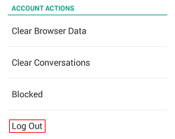 Snapchat Log Out button