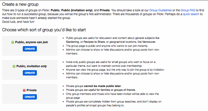 Create groups on Flickr