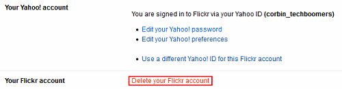 Flickr Settings menu