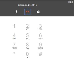 Google Hangouts phone call screen