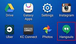 Google Hangouts mobile app view