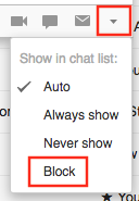 Button to block Google Hangouts user
