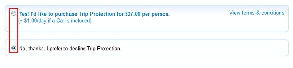 Priceline insurance options