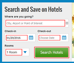 Enter search criteria for hotels