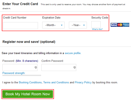 Priceline billing details booking form