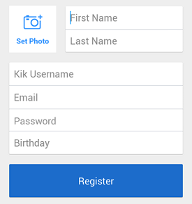 Kik sign up screen