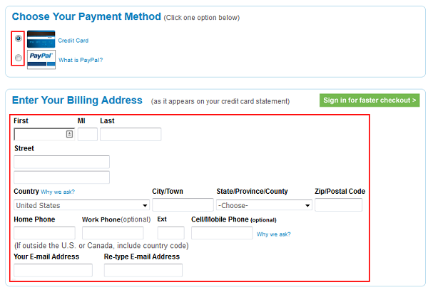Priceline billing information form