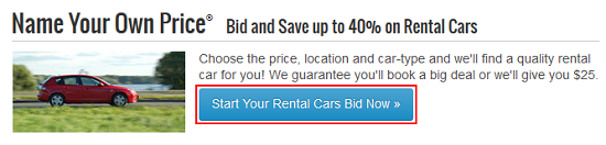 Priceline bidding option button