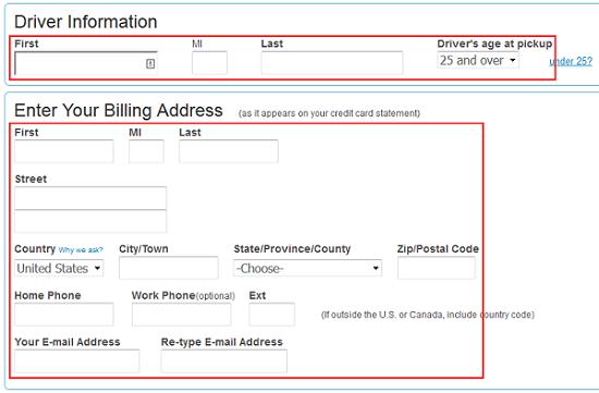 Driver information form