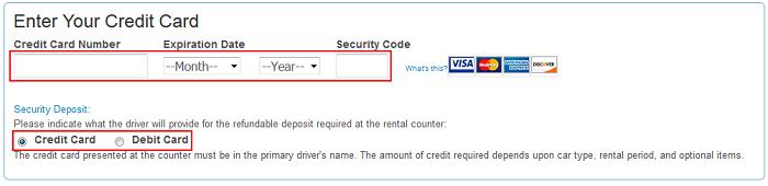 Priceline credit card information form
