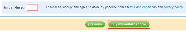 Car rental bidding confirmation button